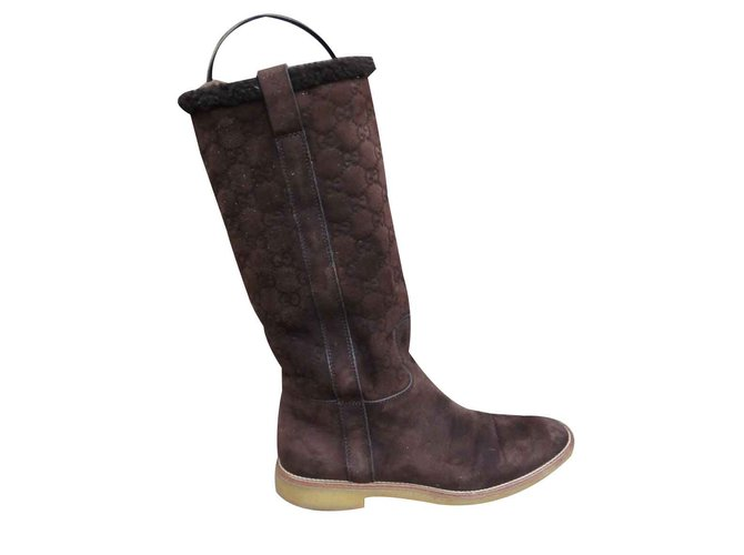 50e813c02 Gucci Gucci boots in shearling Boots Deerskin Brown ref.107754 ...