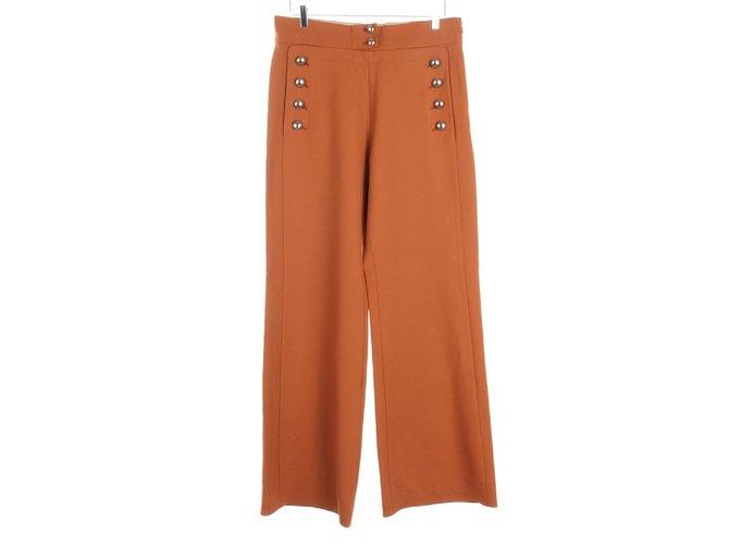 Chloé Pants, leggings Pants, leggings Wool,Elastane Brown ref.107852