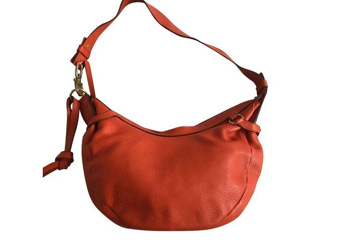 33b21eda6f Salvatore Ferragamo soft bag Handbags Leather Orange ref.107976 ...