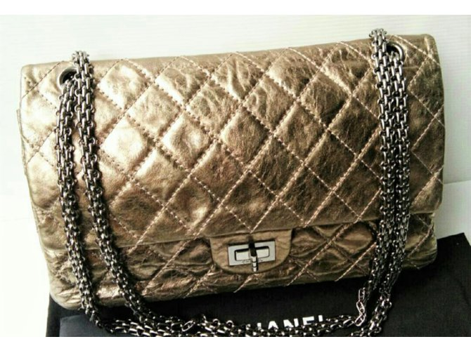 fce314fe3929 Chanel Chanel 2.55 Reissue 227 Metallic bronze with silver hardware Handbags  Leather Bronze ref.108014