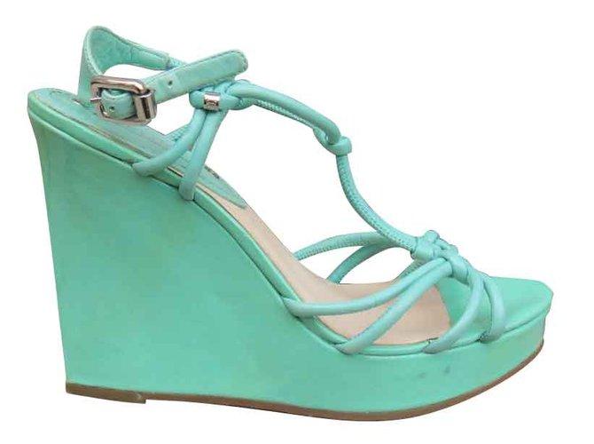 Céline Sandals Sandals Patent leather Turquoise ref.108065
