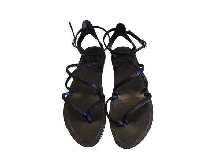7644fa8ed98e K Jacques K JACQUES SANDALS EPICURE EBENE Sandals Leather Black ref.108099