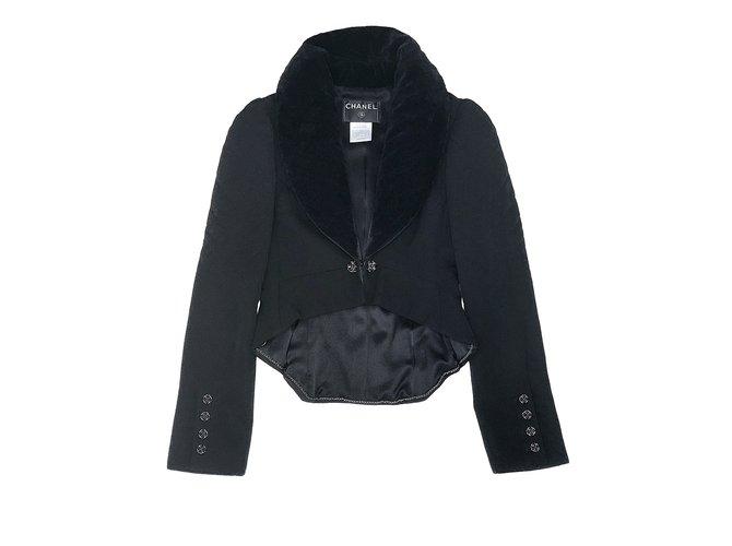Chanel jacket /  tail-coat Jackets Silk,Velvet,Wool Black ref.108308