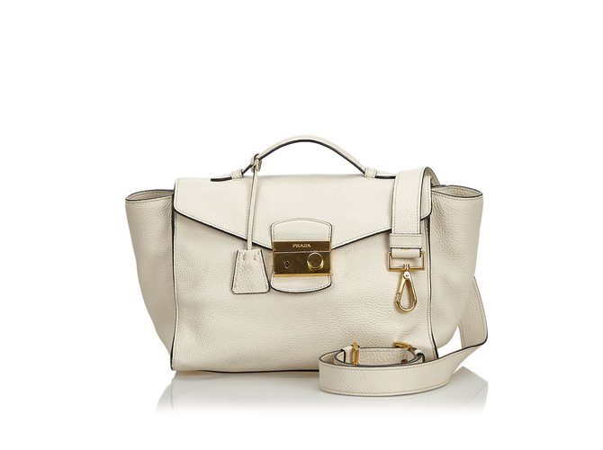 b2547b961a9d Prada Vitello Daino Leather Satchel Handbags Leather,Other White,Cream  ref.108355
