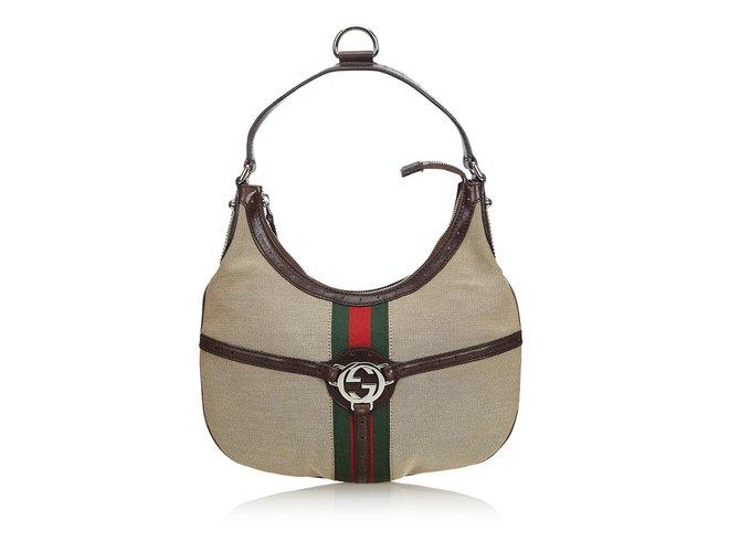 b52db11bc08 Gucci Web Canvas Reins Handbag Handbags Leather