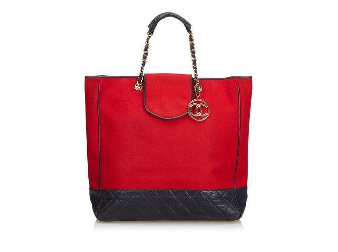 763e520ef9 Chanel Cotton Tote Bag Totes Leather