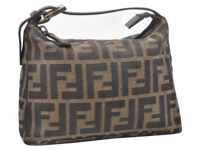44dccd14a Fendi Fendi Zucca Hand Bag Handbags Cloth Brown ref.108465 - Joli Closet