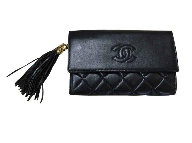 b33094c8897 Portefeuilles Chanel Portefeuille Chanel Cuir Noir ref.108482 - Joli ...