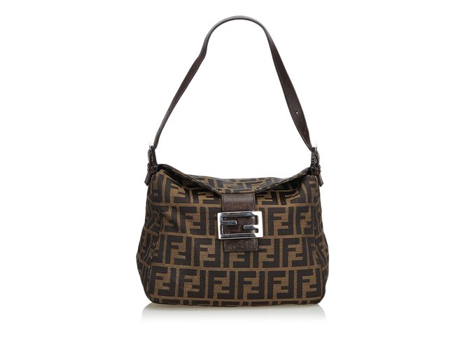 1d219e34d1d0 Fendi Zucca Canvas Shoulder Bag Handbags Leather