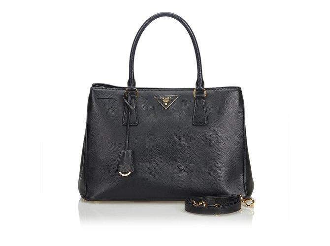 13c0ef5cfa67 Prada Saffiano Leather Galleria Satchel Handbags Leather,Other Black  ref.108648