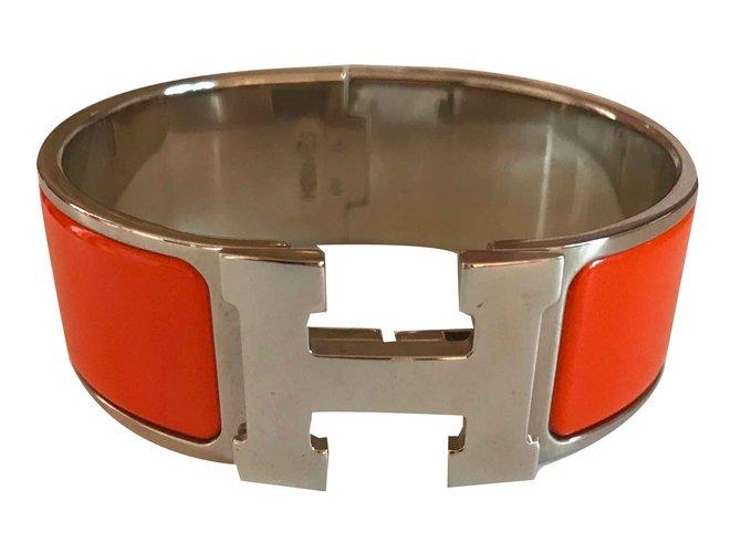 Bracelets Hermès Bracelet Clic Clac H PM Orange et Palladium Autre Orange ref.108682