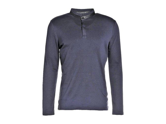 Karl Lagerfeld LAGERFELD NEW MEN'S POLO SHIRT Polos Leather,Cotton Dark blue ref.108719