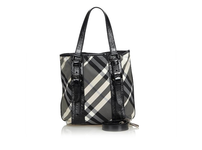 b84d76edc9fd Burberry Patent Leather Plaid Tote Bag Totes Leather