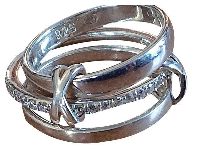 Bagues Autre Marque Bague trois anneaux Argent Argenté ref.108925