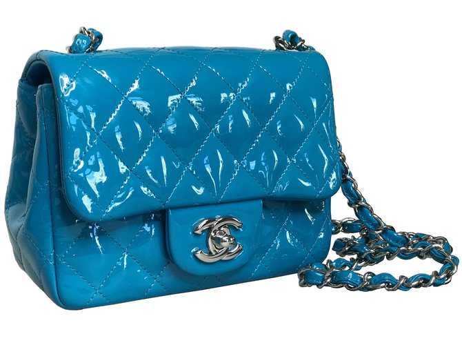 caa2beb5373bb3 Chanel With card! Mini square flap bag timeless Handbags Patent leather Blue,Light  blue