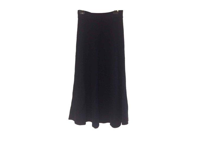 Chloé Rib-knit midi cashmere skirt in navy blue Skirts Cashmere Black,Dark blue ref.108997