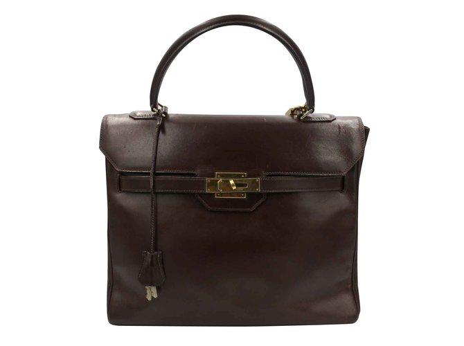 Hermès Monaco 28 Handbags Leather Dark brown ref.109084