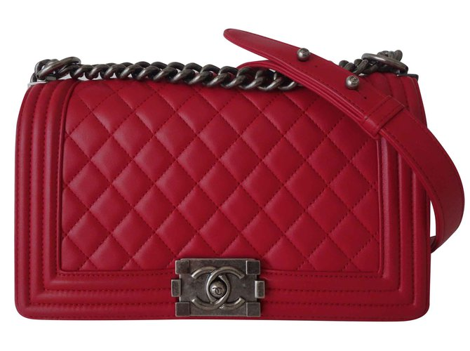 12b6c23530bd24 Chanel CHANEL BOY RASPBERRY BAG Handbags Leather Pink ref.109178 ...