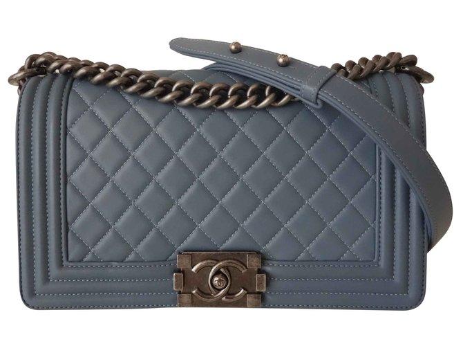 0a8045db7cc Chanel BAG CHANEL BOY BLUE JEAN Handbags Leather Blue ref.109179 ...