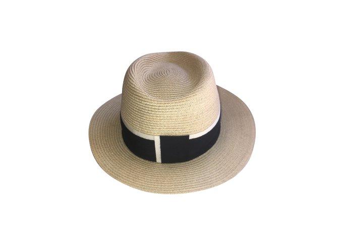 Maison Michel Henrietta Hats Straw Beige,Navy blue ref.109258