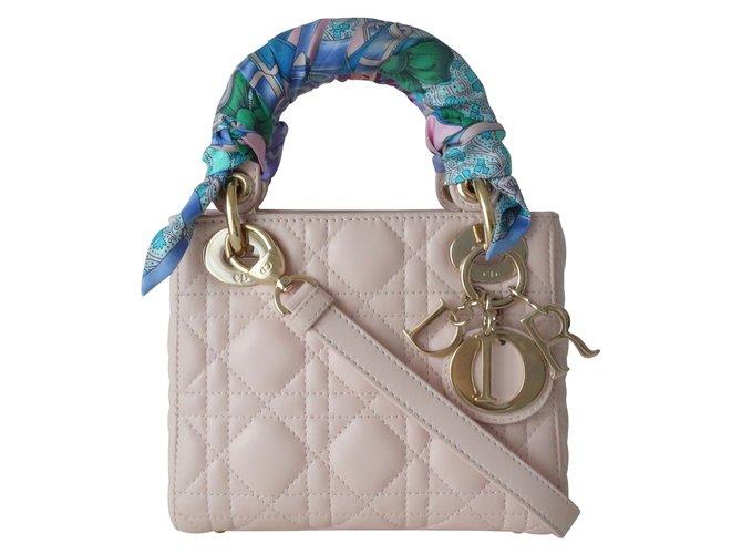 52b42c90c4 Dior MINI LADY DIOR BAG Handbags Leather Pink,Multiple colors ref.109275