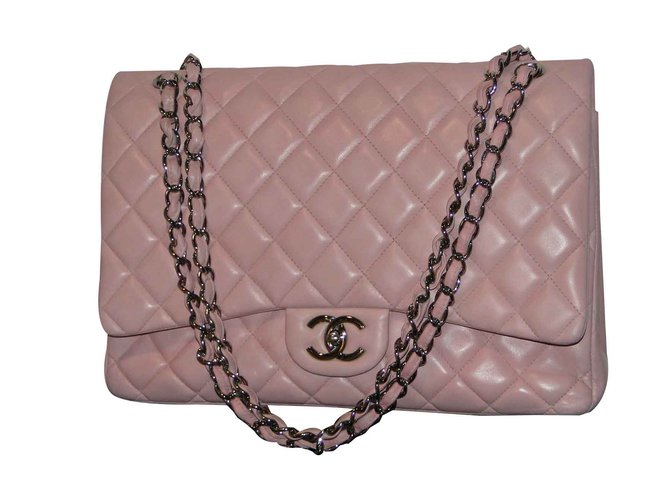 5d4b3a4761f5 Chanel Timeless MAXI lined Flap bag Handbags Leather,Lambskin Pink  ref.109293