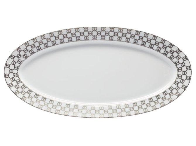 """Hermès Hermes Fil D'argent Platter 23"""" Misc Ceramic White,Beige,Grey ref.109302"""