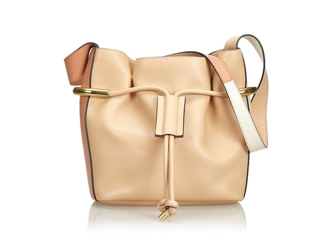 551f81eee Chloé Leather Emma Bucket Bag Handbags Leather,Other Brown,Beige ref.109331