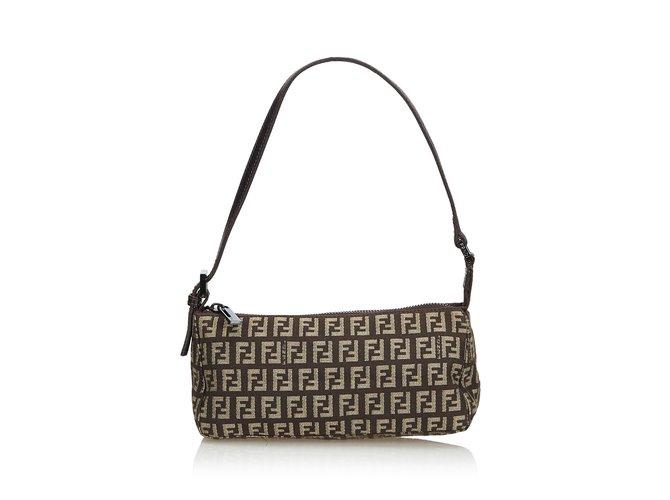 a9f1110e115f Fendi Zucchino Jacquard Baguette Handbags Leather