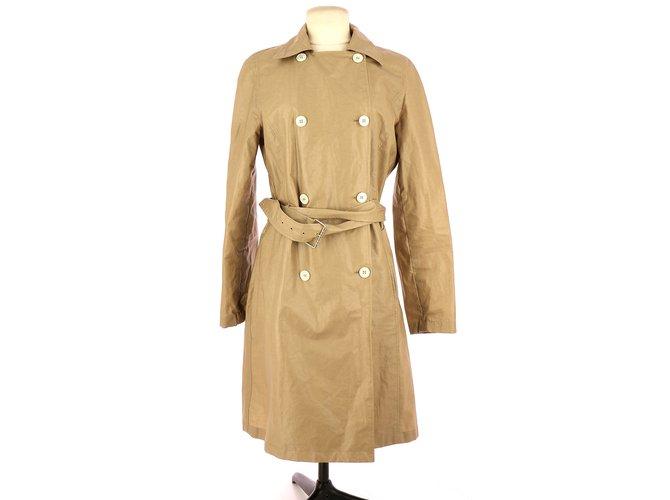 Céline Trench Trench coats Linen Beige ref.109462