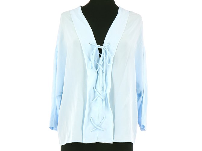 534504c2812689 Sandro Wrap blouse Tops Silk Light blue ref.109772 - Joli Closet