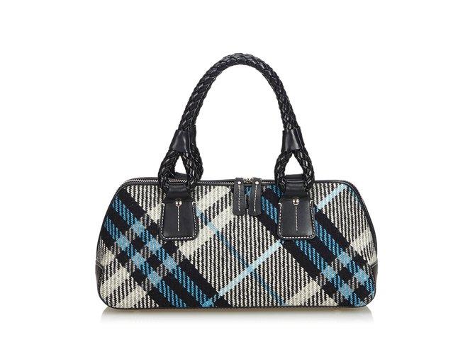 f3f8f62e80d5 Burberry Plaid Wool Handbag Handbags Leather