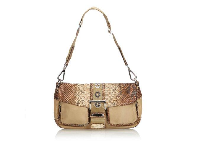 ea920387fa75de Prada Python Shoulder Bag Handbags Leather,Nylon,Cloth,Python Brown,Beige  ref