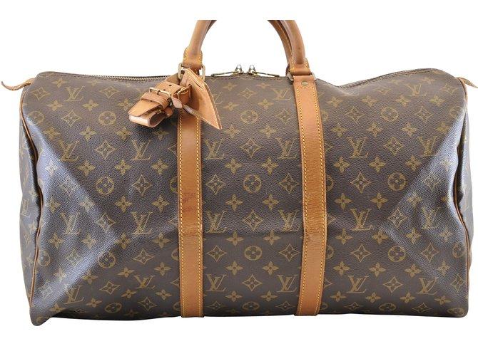 32aa8dbc51a7 Louis Vuitton Louis Vuitton Keepall 50 Travel bag Cloth Brown ref.110002