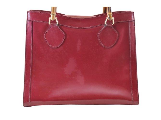 96bd960e615b99 Gucci Gucci Enamel Handbags Leather Red ref.110035 - Joli Closet