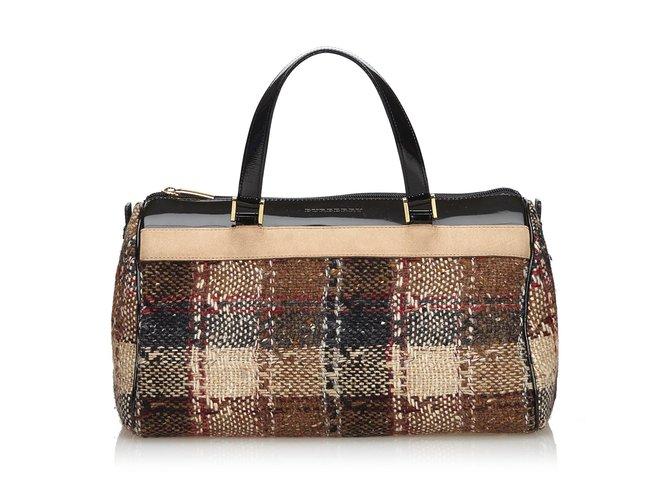 6b6856b920cae Burberry Karierte Woll-Boston-Tasche Handtaschen Leder