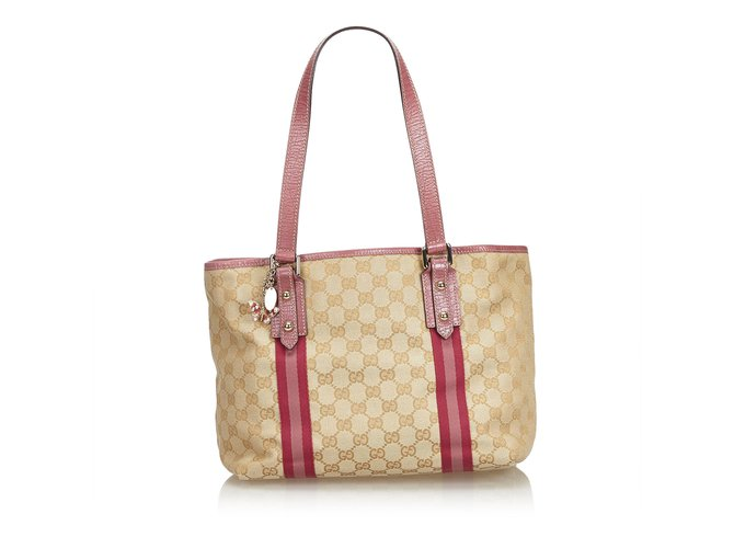 86a1068c73e Gucci GG Jacquard Jolicoeur Tote Bag Totes Leather,Other,Cloth Brown,Pink,