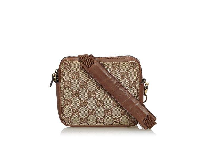 28254f85e Gucci GG Canvas Crossbody Bag Handbags Leather,Other,Cloth,Cloth Brown,Beige