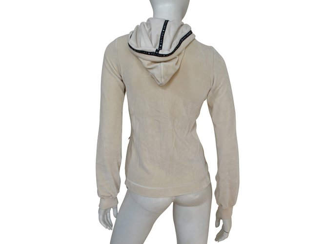 Céline Céline Off-White Ivory Zipped Velour Hooded Sweatshirt Hoodie Size S SMALL Tops Cotton,Polyester Beige ref.110763