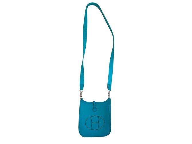 Hermès Hermès Evelyne TPM Blue Peacock Epsom Handbags Leather Blue ref.111052