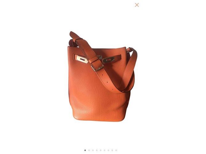 Hermès So Kelly Handbags Leather Orange ref.110501