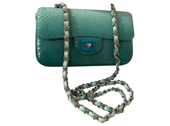 Sacs à main Chanel Sacs à main Python Turquoise ref.111127