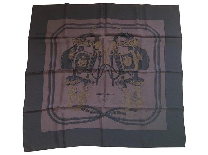 Hermès Square Hermes 90 Dip Dye Brides Gala Brown Silk scarves Silk Chocolate ref.111149
