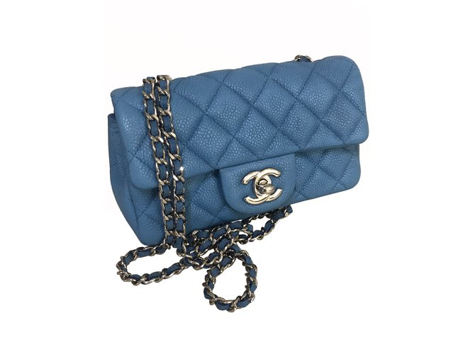 4f85e839eb70 Chanel caviar timeless classic flap Handbags Leather Light blue ref.111201