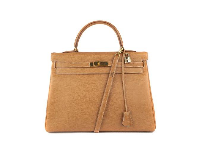 Hermès Superb Hermes Kelly 35 shoulder strap cow Ardennes, GHW in excellent condition! Handbags Leather Golden ref.111209