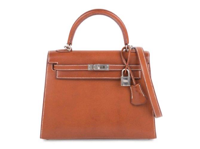 Hermès hermes kelly 25 Barenia with brushed palladium hardware Handbags Leather Chestnut ref.111213