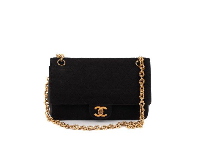 Sacs à main Chanel Sac Chanel classique vintage bi-matière en Jersey & cuir noir en bon état ! Cuir,Tissu Noir ref.111237