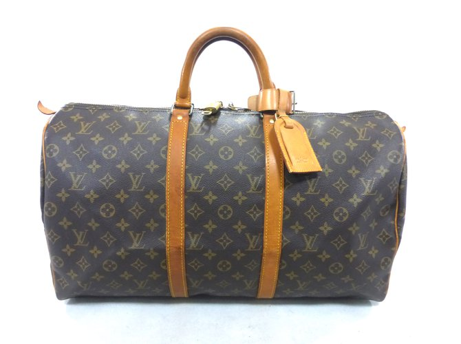 Sacs de voyage Louis Vuitton KEEPALL 50 MONOGRAM Cuir Marron ref.111441