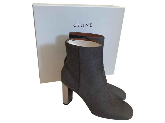 Céline Ankle Boots Ankle Boots Pony hair Grey ref.111462