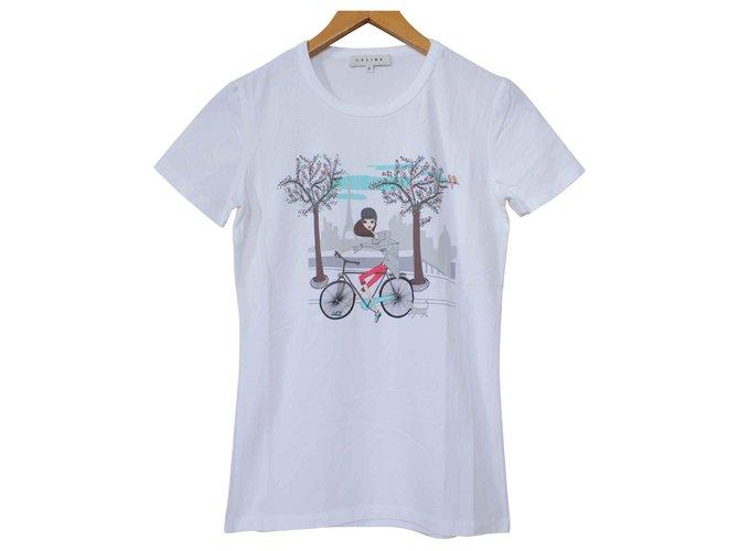 Céline Céline White T-Shirt Tee Size S SMALL Tops Cotton,Elastane White ref.111472